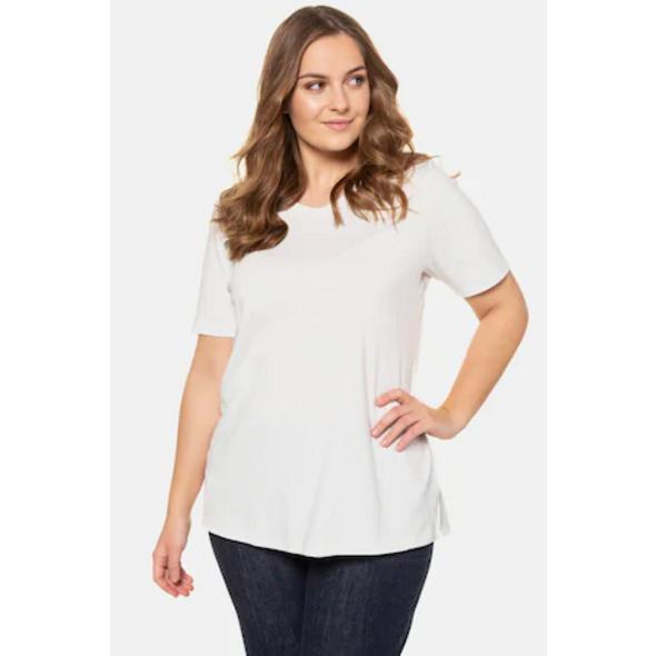 Ulla Popken Basic-T-Shirt, Classic, V-Ausschnitt, Biobaumwolle - Große Größen