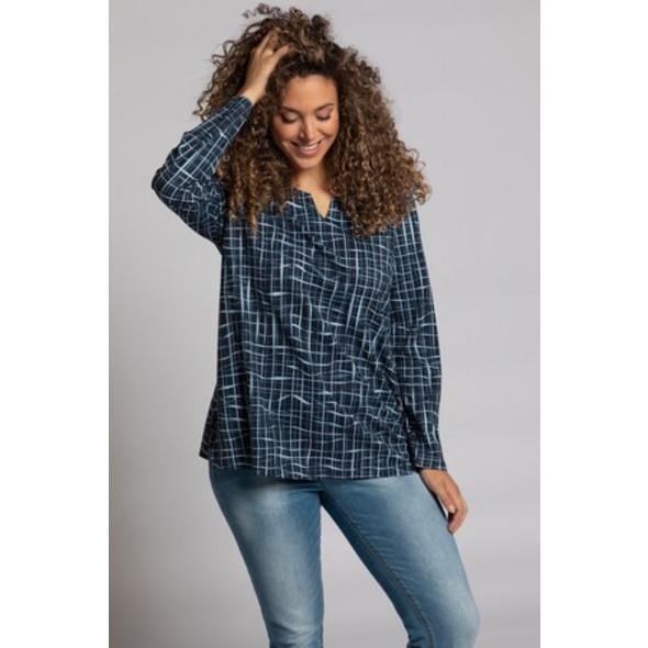 Ulla Popken Shirt, Wellenkaro, Tunika-Ausschnitt, Langarm - Große Größen