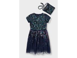 Set - Kleid und Tasche - Glanz-Effekt